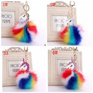 unicornio de peluche bolsa de anillo pendiente dominante del unicornio llavero de dibujos animados de la cadena dominante pompones los anillos dominantes de la bola de la muñeca de las mujeres del encanto del bolso KKA3147