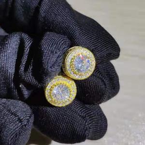 Aretes de circonio de la manera de lujo de diamantes redondos para hombres y mujeres oro o pendientes de plata joyas accesorios de hip hop