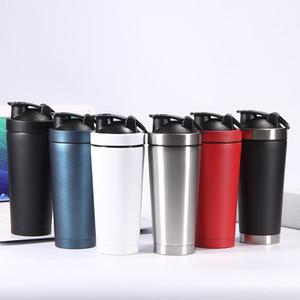 Proteína Shaker 17 oz taza de acero inoxidable Fitness Deportivo Vasos vacío doble pared con aislamiento Batido Copa 500 ml Taza de consumición botella de agua