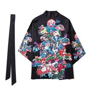 Open-Stitch Kimono Jacket Uomo Estate intero Stampa Giacca manicotto dei tre quarti sottile di stile Mens Abbigliamento Uomo