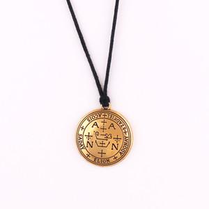 HY027 Vintage rond profond graver style médaille modèle religieux pièce pendentif collier pour les femmes