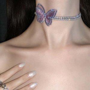 Супер Фея Фиолетовый бабочки Rhinestone Choker ожерелье для женщин Кристалл ключицы Chain Короткие Chocker Воротник ожерелье ювелирных изделий