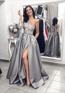 Silver Grey Split Prom Dresses Arabic One Shoulder Long Sleeve Lace Applique Women Formal Party Evening Wear Elegant A Line Pageant Gowns