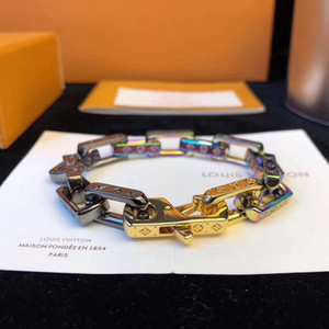 Monogram colori Gli uomini ha ghiacciato fuori braccialetti colorati di bambù in acciaio inox di marca L strass donna Miami catena cubana braccialetto di hip hop V ringrosso
