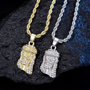 2020 Иисус Христос Кусок Голова лица Подвеска для мужчин Iced Out Сияющий кристалл золото / серебро Charm ожерелье с цепи Hip Hop Ювелирные изделия