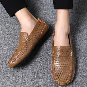 Casual ayakkabılar Flats Büyük boyutta Açık erkekler Moda Yumuşak Nefes Makosenler Slip Ayakkabı Sürüş 2019 Gerçek Deri makosenler mens
