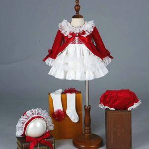 4 PCS Spain Style Girl Dress Royal Costumes Baby Girl Party Princess Dress Lolita Christmas Clothes Baby Clothing