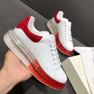 2019 New Season Designer Luxury Mens Casual Shoes Clear Sole Trainers Red Yellow Pink Transparent Crystal Bottom Flats Men Women Sneakers