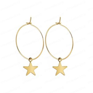 New Round Earrings Popular Fashion Personality Simple Pentagram Ear Ring Earrings Female Accessories Wholesale