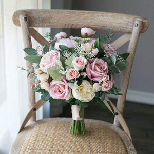 New Erröten rosa Braut Halten Brosche Bouquet Rose 2020 Günstige Seide Hochzeit Dekoration Künstliche Brautjungfer Brautjungfer Bouquet Mariage