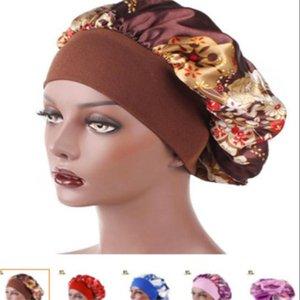 New Fshion Women Satin Night Sleep Cap Hair Bonnet Hat Silk Head Cover Wide Elastic Band Shower Cap . a0536
