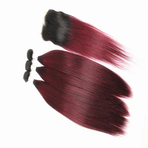 Straight Hair Extensions Bundles with 4x4 Hair Closure Free Part Ombre Two Tone Brazilian 100% Human Hair Weaves 8-28inch Color T1B 99J