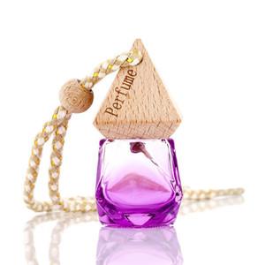 Carro cor Pendant Air Perfume Freshener Difusor Fragrance Garrafa Pyramid Tampa Diamante Forma Empty Glass Perfume Bottle Car presente Decor