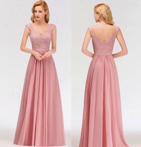 Meat Pink Chiffon Long Bridesmaid Dresses Lace Top Ruched Floor Length Wedding Guest Maid Of Honor Party Evening Gowns
