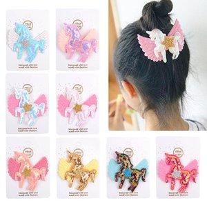 Ins sequin Unicorn girls hair clips 2.9inch hair bows kids barrettes rainbow cute baby BB clip designer hair accessories 20pcs lot B1463