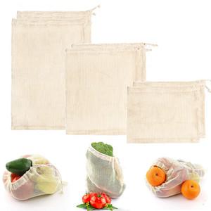 Cotton Mesh Bag Abbaubare Frucht-Gemüse-Supermarkt-Einkaufstasche Wiederverwendbare Cotton Mesh-Lebensmittelhand Totes-Speicher-Beutel IIA227