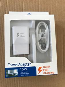 2 в 1 15 Вт Адаптивная 100% быстрая зарядка US / EU Travel Настенное зарядное устройство + 1,2 м Тип C + 1.2M Micro USB-кабель для Samsung S6 S7 S8 с коробкой