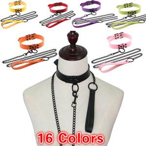 L'oscurità sexy catena della collana del metallo di stile punk Choker PU collare di cuoio unisex Flirtare Giochi di Ruolo collo Cintura Exotic Guinzaglio Bondage
