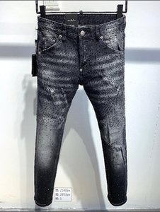 NEW Mens Fashion Designer Ripped Jeans Retro Black Badge Washed Biker Denim Pants Hip Hop Distressed Trousers