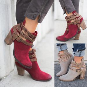 2019 Mode Femmes Bottes Printemps Automne Talons Chaussures Talons Hot boucle en métal Chunky Bottes Boot Retro Roman Taille 35-43