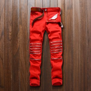 Free Shipping New Men \&#039 ;S Knee Zipper Jeans Red Destroyed Elastic Hole Jeans Skinny Denim Pants Fashion Street Zipper Trouser