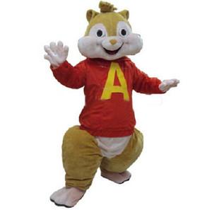 Kırmızı Alvin ve Sincaplar Kostüm Sincap Maskot Kostüm Cadılar Bayramı Kostüm
