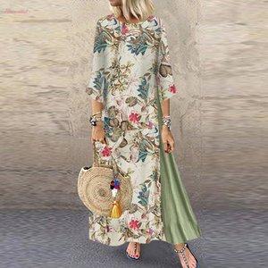 Женщины Осень Платье Плюс Размер Новая Мода Старинные Цветочные Патч Платье 3 4 Рукава O Шеи Свободные Макси Летнее Платье 2020 M840
