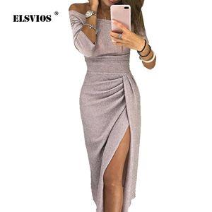 Elsvios Kadınlar Parlak Ipek Parlak Bodycon Elbise Seksi Kapalı Omuz Parti Elbise Sonbahar Üç Çeyrek Kol Zarif Midi Elbiseler J190601