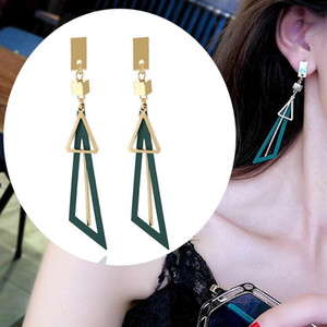 Korean Statement Geometric women earring Square Triangle Long Tassel Drop Earrings For Women Fashion Jewelry Oorbellen Brincos Aretes