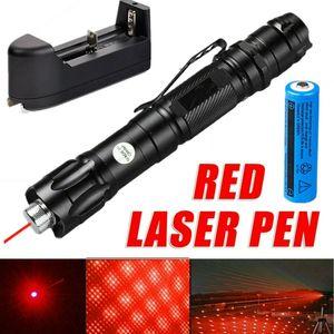 Puntero Cap 100 millas de la correa de láser rojo pluma de la estrella del clip astronomía 650nm recargable increíble Lazer gato / perro de juguete + 18650 + cargador de batería