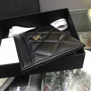 100% echten Kuh-Leder Identifikation-Kartenhalter-Mini-Portemonnaie weiches Leder Bank-Kreditkarte Geschenk-Box Multi-Slot-Karte schlanker Fall