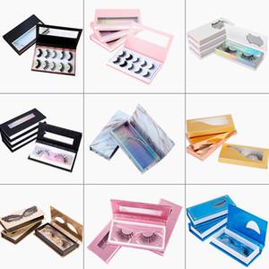 Pestañas magnéticas de lujo personalizadas Embalaje Cajas de pestañas de visón 3D Empaquetado de pestañas falsas Caja de pestañas vacía Caja de maquillaje de belleza Herramienta