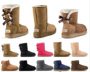 2020 New Designer Stiefel Australien Frauen Mädchen klassischer Schneeschuh bowtie Knöchel kurzen Bogen Pelzstiefel für den Winter schwarz Chestnut Mode Größe 36-41