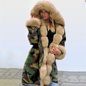 Outerwear Casual Designer Womens Coats com pele do inverno Womens Camouflage Impresso Parkas Moda Thick com capuz senhoras