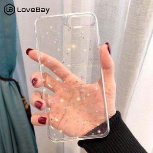 iphone 11 Pro XS Max XR X 8 7 6 6S Artı 5S SE 2020 Toz Şeffaf Kapak için Lovebay Bling Yıldız Glitter Yumuşak TPU Telefon Kılıfları