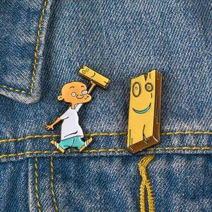 Jonny Plank Emaye Pin Karikatür Broş aksesuarları Sarı Yaka Ahşap Yaka Rozeti Takı Mutlu Saat
