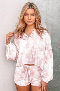 Dhl Free For Pajamas Tiedye For Female Pyjama Korte Sets Met Ronde Hals En Tie-Dye Tie And Dye Shirts Dark Magnet in stock hotclipper
