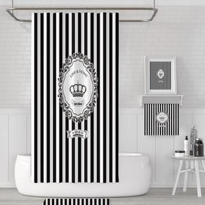 Черно-белая полосатая Корона ванной Душ занавес Набор Перфорированные Водонепроницаемый Плесень Устойчив Утолщение Ванная комната Ванна Душ занавес