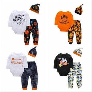 Halloween vestiti del bambino del bambino lettera stampata pagliaccetti dei pantaloni hat 3pcs insiemi infantili del manicotto lungo di zucca delle tute Pantaloni Cappelli Abbigliamento DYP6255
