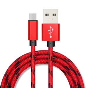 1M 2M 3M OD 4.0 2A cuadrícula velocidad de carga de nylon trenzado de metal Adatper de sincronización de datos Micro USB tipo C de cable 100pcs / lot