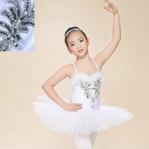 White Swan Lago Pancake Classical Ballet Tutu Profesional Dancewear niñas Dance Performance Traje del ballet de vestimenta para los niños