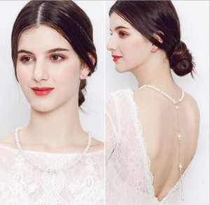 Europa und Amerika Einfach Lange Diamant-Perlen-hängende Troddel-Halskette Zurück-Körper-Kette 2020 Günstigste Bride Karosserie Zubehör