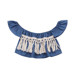 Newborn Toddler Baby Girl Sunsuit Summer Clothes Jeans Denim Off Shoulder Tassels Sleeveless Blouse Shirt Clothing Jumper Outfit