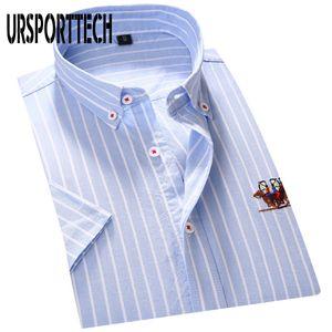 URSPORTTECH Erkek Gömlek Sosyal Çizgili Kısa Kollu Slim Fit Gömlek Erkek Giyim Kaliteli Nakış Tasarım Erkekler Elbise