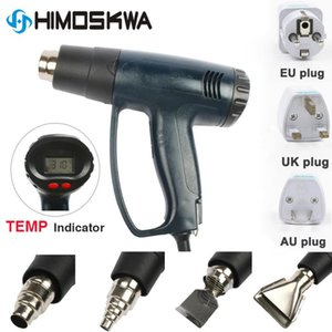 2000W EU Industrial Electric Hot Air Gun регулируемые Терморегулятор Heat Gun LCD Цифровые термоусадочные Упаковочная Термическое + 4 Форсунка