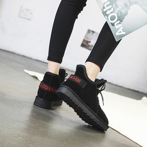 SWYIVY Casual Women Winter Shoes Slip On Genuine Leather Ankle Boots For Women New 2019 Warm Short Plush Flat Shoes Woman Sewing