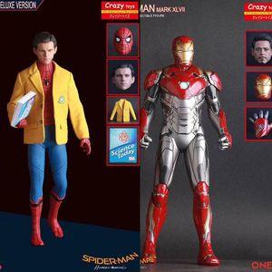 Deux têtes de Crazy Toys Homecoming Araignée Iron Man Mark XLVII MK 47 Spiderman Deluxe Version Figurine de collection Modèle Toy