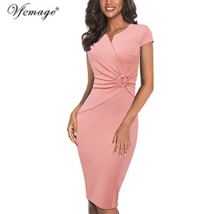 Vfemage Women Elegant Notch V Neck Ruched Embellished Waist Work Office Business Cocktail Party Bodycon Pencil Sheath Dress 007 MX200518