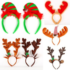 AU Reindeer Antlers Cappello di Natale del vestito operato dal campane festose cervo fascia
