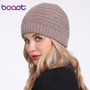 [boapt] Angora Rabbit Soft Double layer Knitted Thick Bonnet Girls Winter Hats For Women's Caps Lady Skullies Beanies Female Hat MX191116